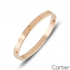 Cartier Rose Gold Plain Love Bracelet Size 19 B6095619